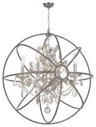 foucault s orb chandelier 4 light chrome finish clear crystal inside caged chandelier gallery 17