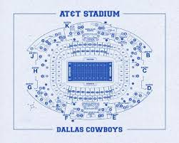Dallas Cowboys Seating Chart Print Of Vintage Dallas Cowboys At T Stadium Seating Chart Seating Chart On Photo Paper Matte Paper Or Canvas