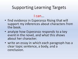 grade module unit lesson paragraph writing part ii  supporting learning targets i can evidence in esperanza rising that will support my inferences