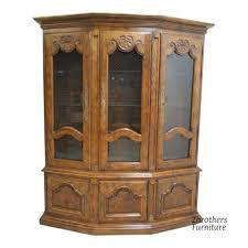 vintage century furniture country french oak china cabinet breakfront hutch