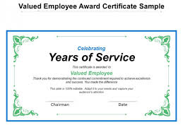 Valued Employee Award Certificate Sample Ppt Powerpoint