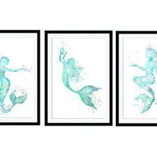 mermaid wall decor mermaid art poster set of 3 prints mermaid watercolor home decoration set of mermaid wall decor