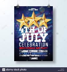 Independence Day Of The Usa Party Flyer Illustration With Flag And