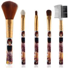 5 pcs eye lip makeup brushes set golden