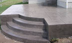 decorative stamped concrete patio and steps with stairs o15 patio