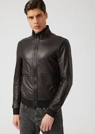 jacket in glove nappa with jersey hem and cuffs