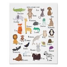 Animal Alphabet Chart A Z Art Print