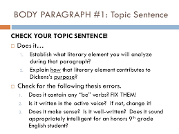 a tale of two cities in class analytical essay self check  body paragraph 1 topic sentence check your topic sentence
