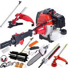 52cc petrol 5 in 1 garden multi tool hedge trimmer strimmer chainsaw sweeper
