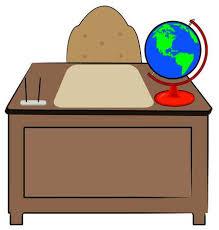 teacher desk clipart.  Teacher Business Or Teachers Desk With Globe Of World Sitting On It  Vector Stock  Vector Inside Teacher Desk Clipart E
