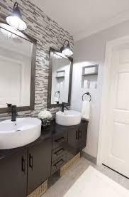 bathroom backsplash tiles. Bathroom With Vessel Sinks And Mosaic Backsplash Tiles : Stunning