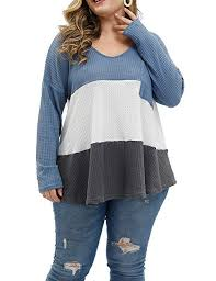 Allegrace Size Chart Allegrace Womens Plus Size Tops Knitwear Color Block Long Sleeve T Shirts Lightweight Plus Tunic Top