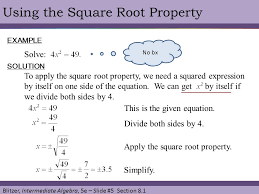 blitzer interate algebra 5e slide 5 section 8 1 using the square root