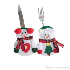 Tableware <b>Decorations</b> Snowman Silverware Holders <b>Knife And</b> ...