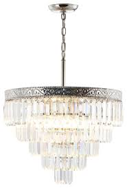 wyatt 20 4 light crystal chandelier polished nickel clear by jonathan y