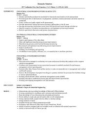 Industrial Engineer Resume Industrial Engineering Intern Resume Samples Velvet Jobs