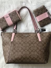 Coach F58318 Signature Ava Tote + Wallet + Wristlet SET Khaki Blush Pink    eBay Coach