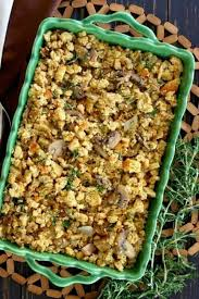 vegan sausage stuffing cerole is an above head photo and the golden stuffing is in a