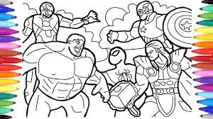 Halloween colouring pages by category: Avengers Coloring Pages Coloring The Avengers Squad Spiderman Iron Man Hulk Captain America Youtube