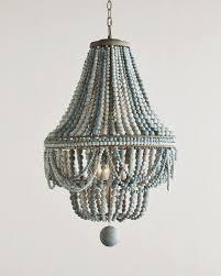 image of blue wood bead chandelier