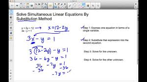 solving simultaneous linear equations by substitution