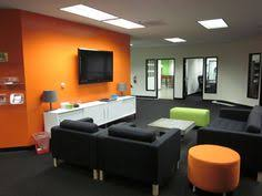office orange. commercial office relocation using mostly ikea furnishings and orange u0026 lime green accents karlstad sofa n