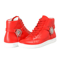 versace versus men s red leather hi top fashion sneakers shoes 6