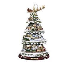 the bradford exchange wonderland express christmas tree by thomas kinkade lightoving train amazon co uk kitchen home