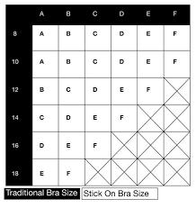 Bra Size And Cup Size Chart Stick On Bra Size Chart B Free Australia