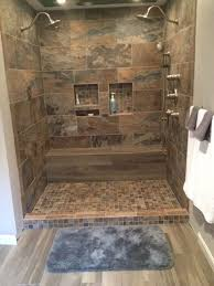 bathroom shower porcelain chalet 12x24 2x2 mosaic sage tabula 6x36 mocha wood look tile bench floor