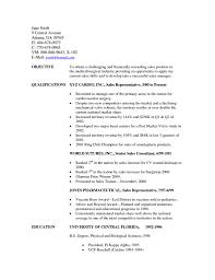 Sample Resume Objectives For Medical Representative Best Sales