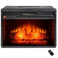 freestanding electric fireplace insert heater in black with flat tempered glass and