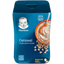 Gerber Baby Food Age Chart Gerber Single Grain Oatmeal Baby Cereal 16 Oz Container