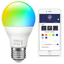 Amazon.com: MINGER Color LED Light Bulb, RGB Music Sync Dimmable ...