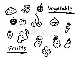 果物と野菜たち笑顔詰め合わせセットイラスト No 1367429無料