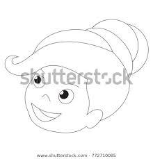 Cute Girl Face Cartoon Outlined Illustration Stock Vector Royalty