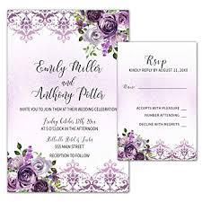 100 Wedding Invitations Purple Plum Lavender Damask Floral Design Envelopes Response Cards Set