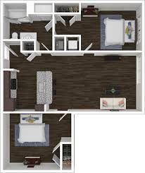 2 bedroom 1 bathroom 2x1 floorplan with 679 square feet