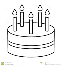 Birthday Cake With Five Candles Coloring Page Free Printable And