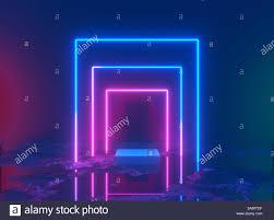 Neon Light Spectrum 3d Rendering Neon Light Glowing Lines Ultraviolet Stage