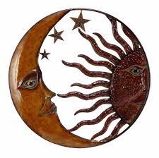 Benzara 63767 Copper Sun Moon & Star Wall Art Dcor At Throughout Sun And  Moon Metal