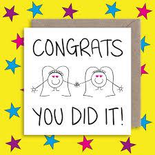 Cute Lesbian Wedding Congratulations Card Gay Marriage Card Alternative Wedding Card