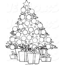 Vector of a Cartoon Christmas Tree and Gifts - Coloring Page ...