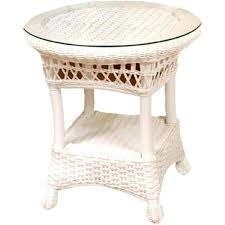 wicker end table classic coastal round outdoor coffee with umbrella hole white wic wicker basket coffee table with baskets tables white patio
