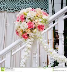 Wedding Flowers Decoration Beautiful Wedding Flower Decoration At Stairs Stock Photo Image