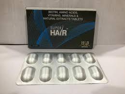 brand super hair tablets packaging