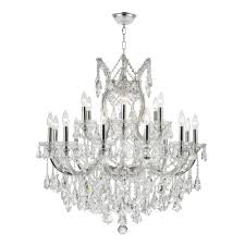 worldwide lighting maria theresa 19 light polished chrome chandelier with clear crystal