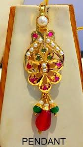 details about small pendant set necklace 22k yellow gold real ruby emerald pearl punjabi set