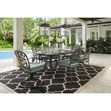 Outdoor Madrid Piece Bronze And Bermuda Cast Back Dining Set