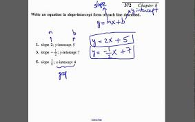 write equation of line given the slope and y intercept or x maxres